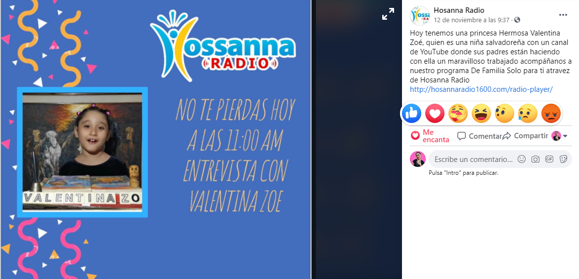 Entrevista Hossana Radio Valetina Zoe